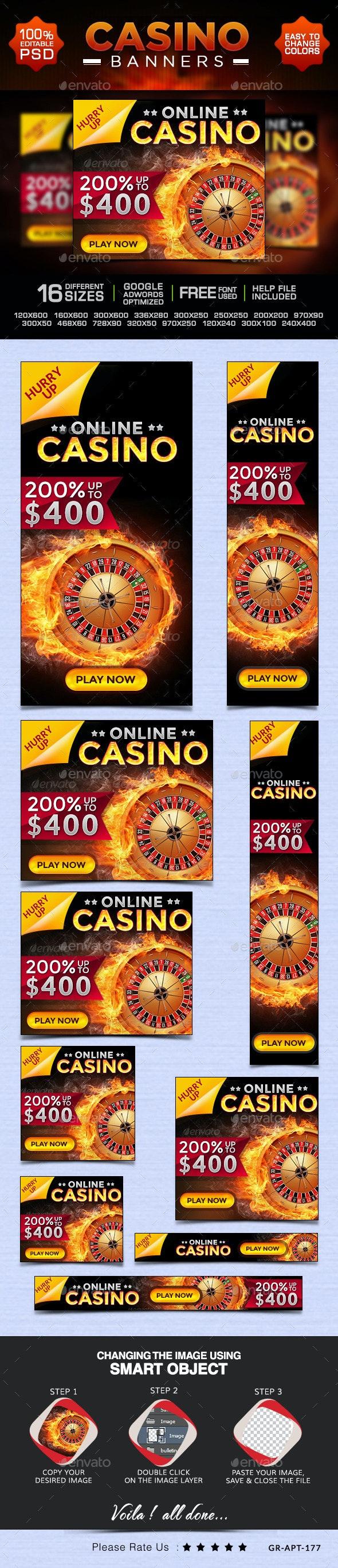 Casino Banner Design Set - Banners & Ads Web Elements