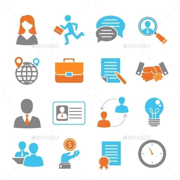 Job Interview Colored Set - Concepts Business