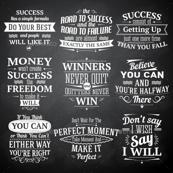 Success Quotes Chalkboard Set