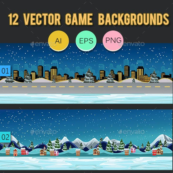 12 Vector Game Backgrounds