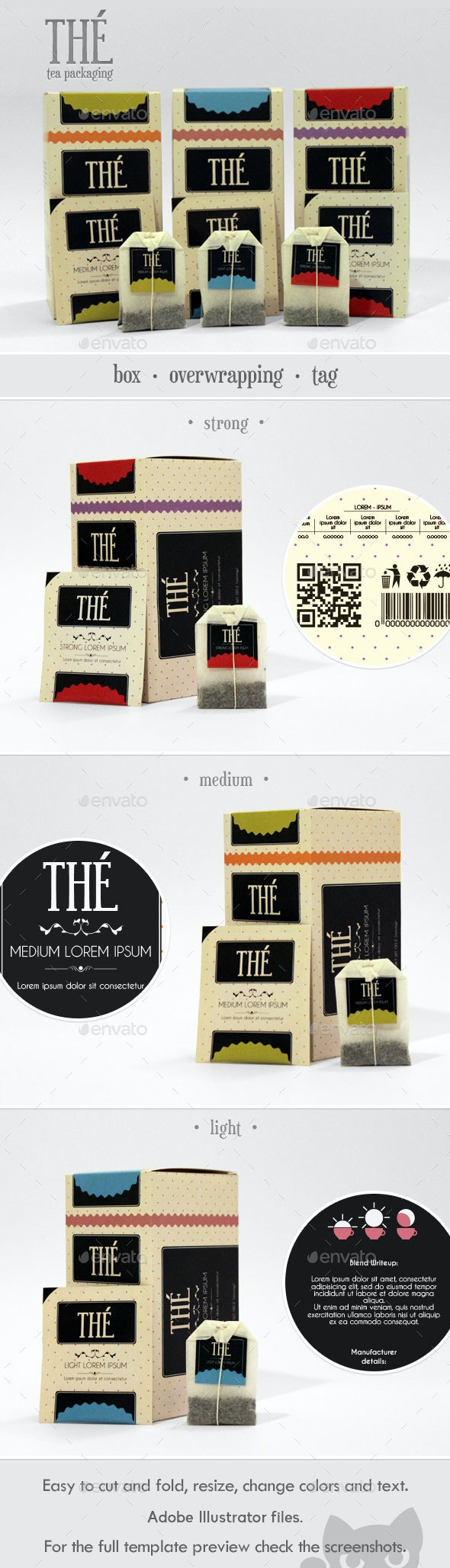 Retro Tea Packaging - Packaging Print Templates
