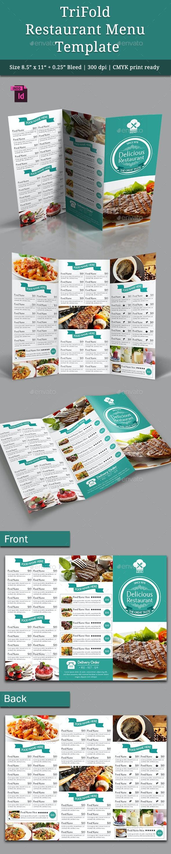 TriFold Restaurant Menu Template Vol. 4