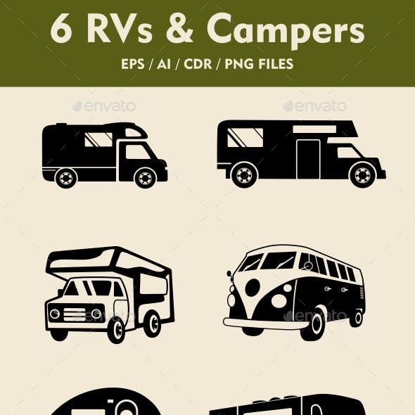 6 RV Camper Silhouettes