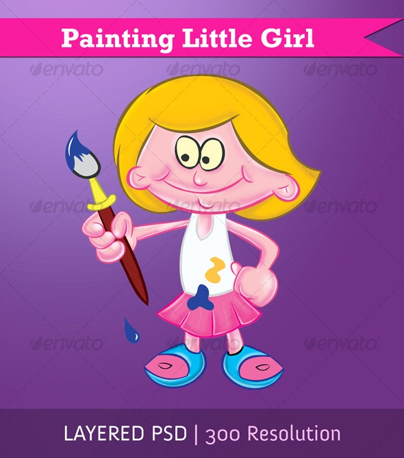 Painting Little Girl - People Characters