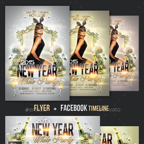 New Year Flyer + Fb Timeline Template
