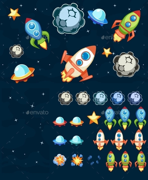 Asteroids Game Pack - Miscellaneous Game Assets