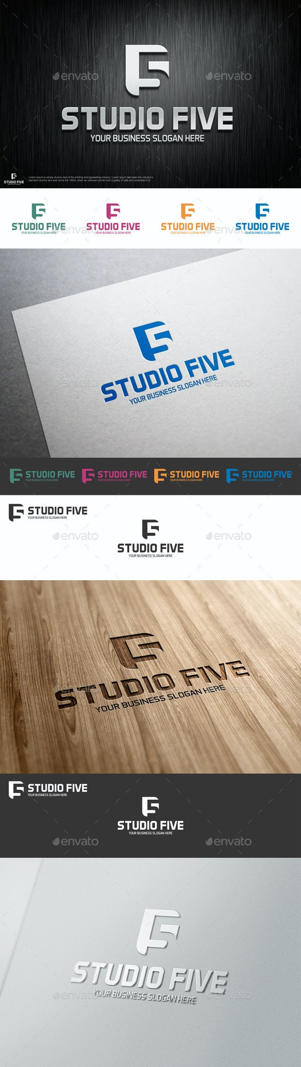 Studio Five Logo Shape - Numbers Logo Templates