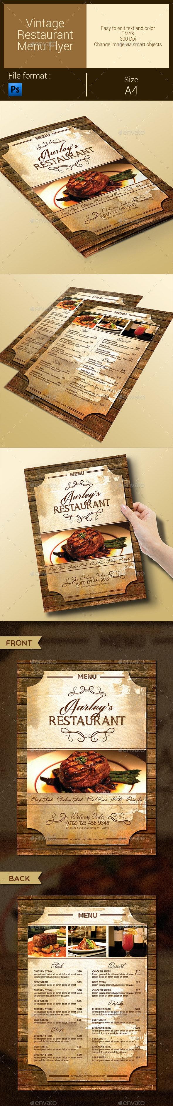 Vintage Restaurant Menu Flyer