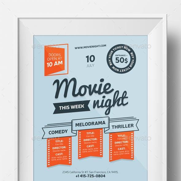 Movie night poster template