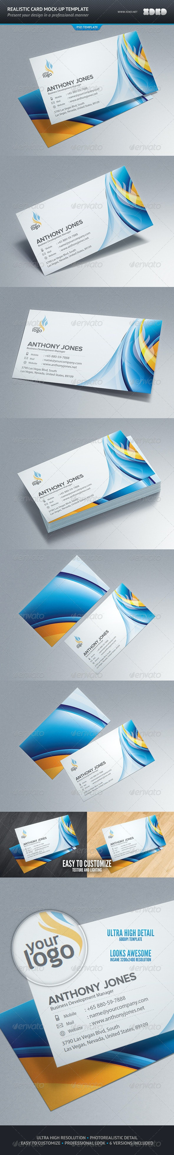 Photorealistic Business Card Mockup Template - Business Cards Print