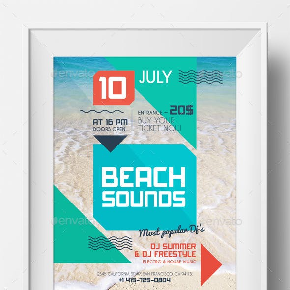 Beach sounds poster template