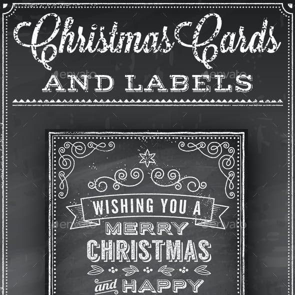 Christmas Vector Chalkboard Labels