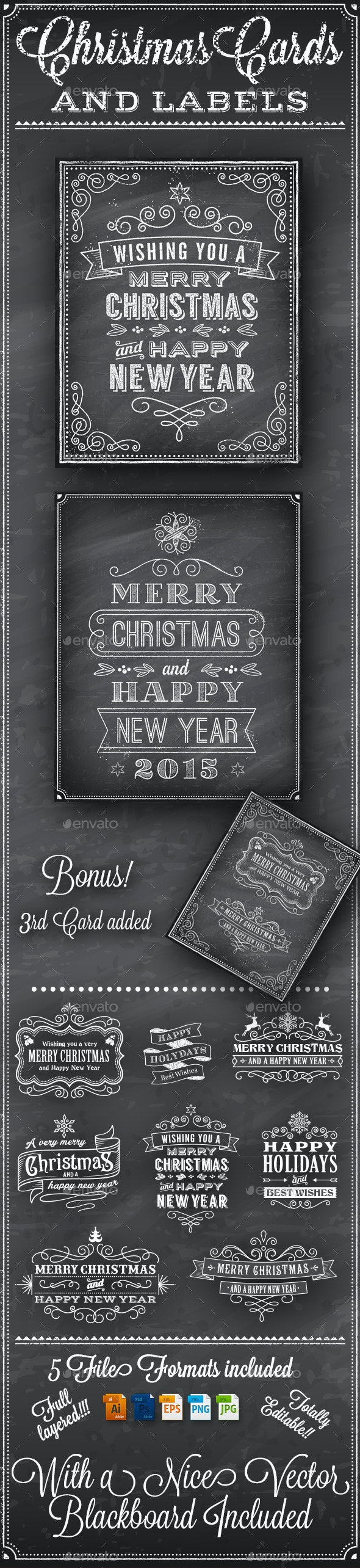Christmas Vector Chalkboard Labels - Christmas Seasons/Holidays