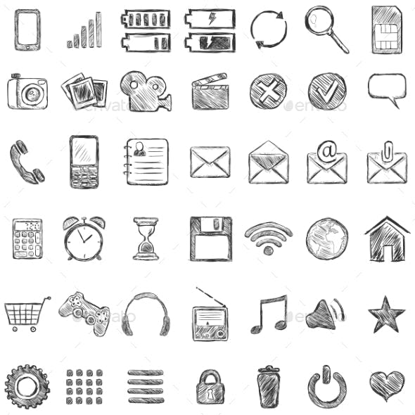 Set of Sketch Mobile Icons