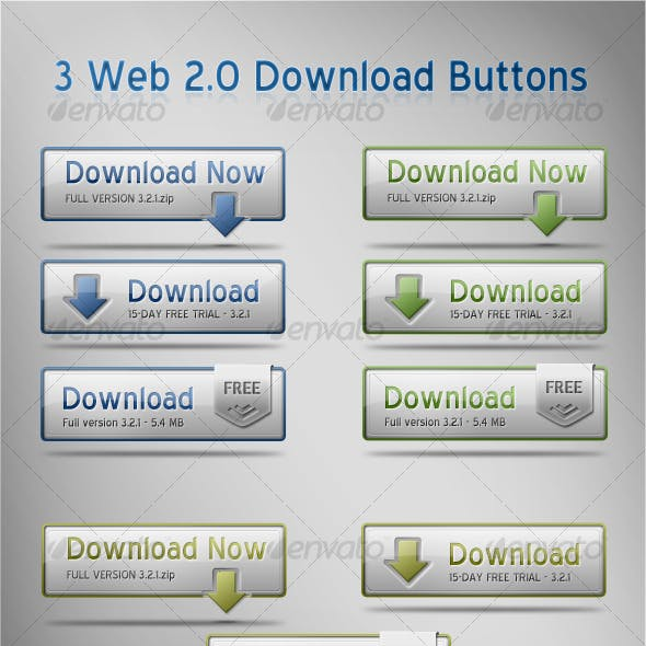3 Web 2.0 Download Buttons