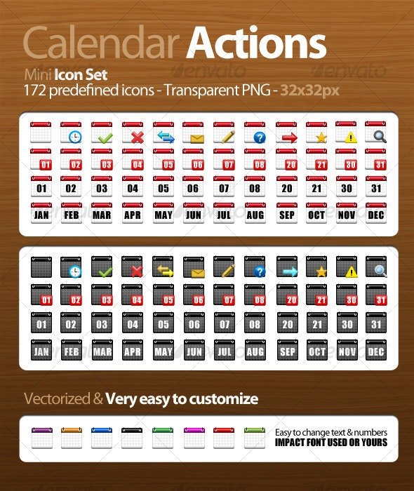 Calendar Actions - Mini Icon Set - Man-made objects Objects