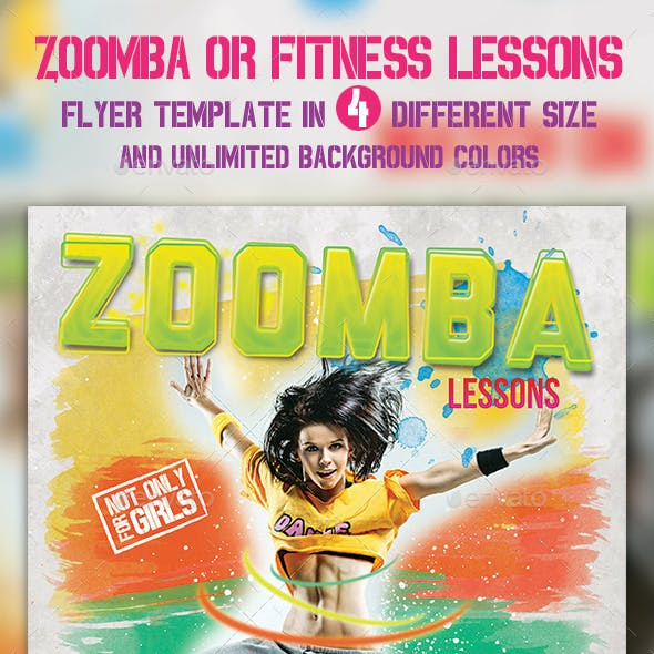 Zoomba or Fitness lessons flyer