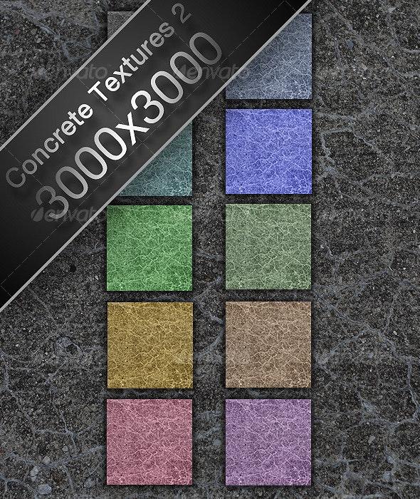 10 Cracked Colored Concrete High-Res Textures - Concrete Textures