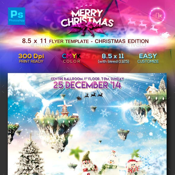 White Christmas Flyer Template (8.5x11)