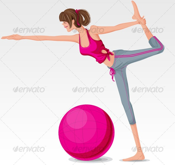 Aerobics girl with pink exercise ball - People Characters