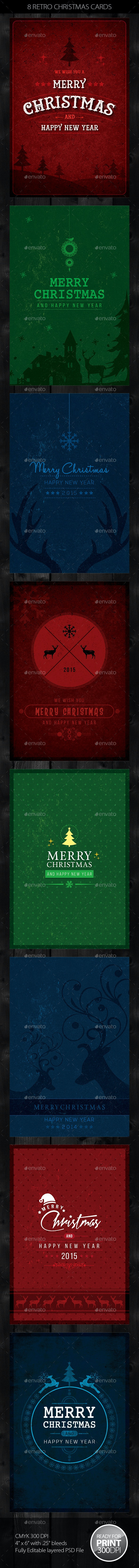 8 Retro Christmas Cards / Invite - Holiday Greeting Cards