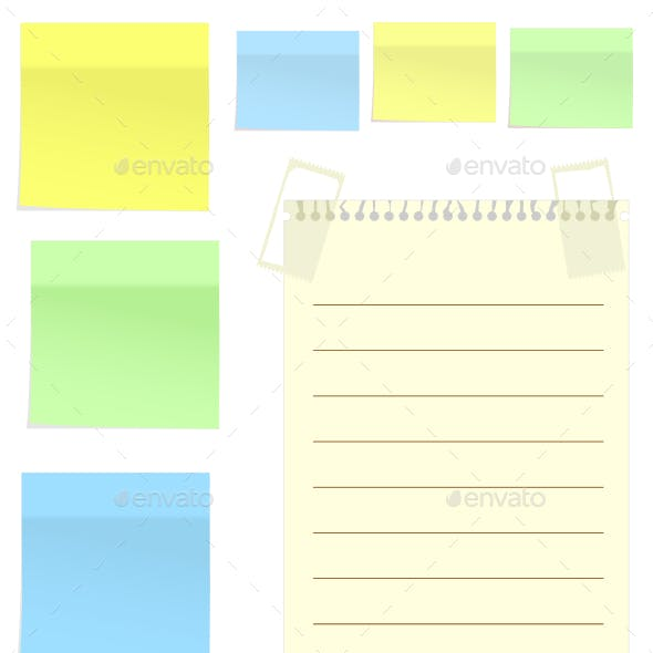 Set of Multicolor Stickers for Note on White