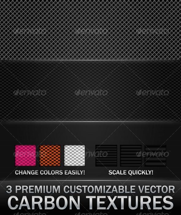 3 Premium Customizable Vector Carbon Textures - Patterns Decorative