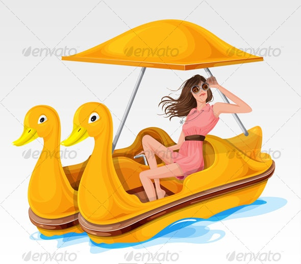 Girl with Paddle boat - People Characters