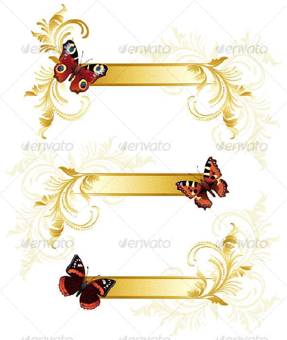 Butterfly banners - Decorative Symbols Decorative