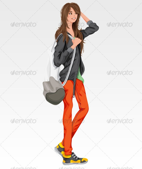 Girl with colorful Pants - People Characters