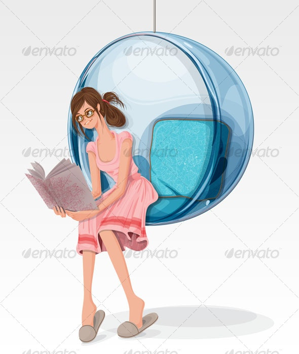 Young girl reading on a bubble chair - People Characters