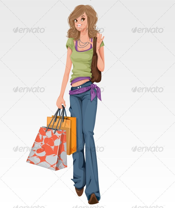 Girl with shopping bags - People Characters