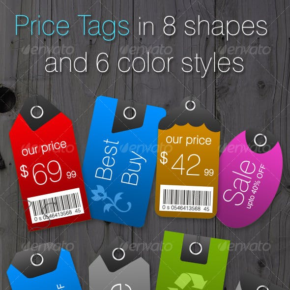 Price Tags in 8 Shapes and 6 Color Styles
