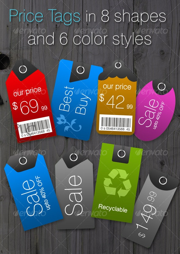 Price Tags in 8 Shapes and 6 Color Styles - Web Elements