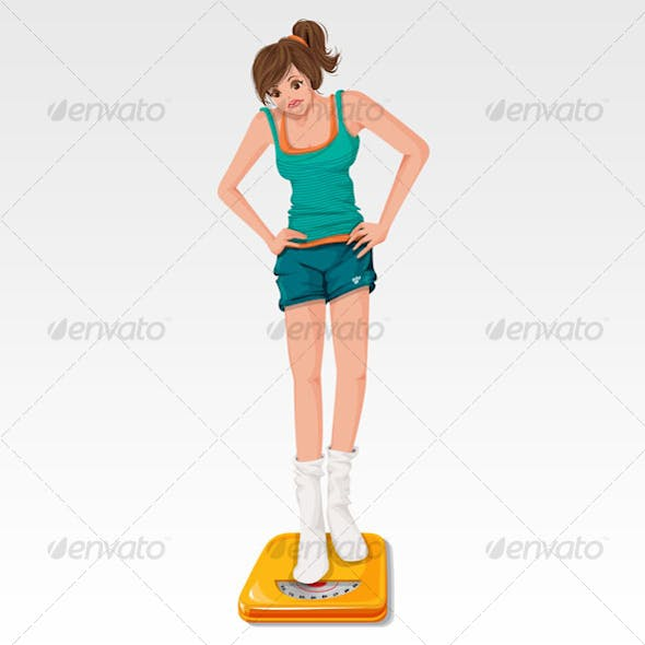 Woman standing on weighing apparatus