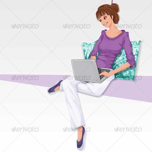 Woman with laptop - People Characters