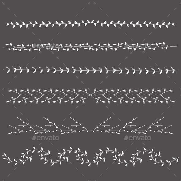Hand-Drawn Silhouettes Borders Branches Set