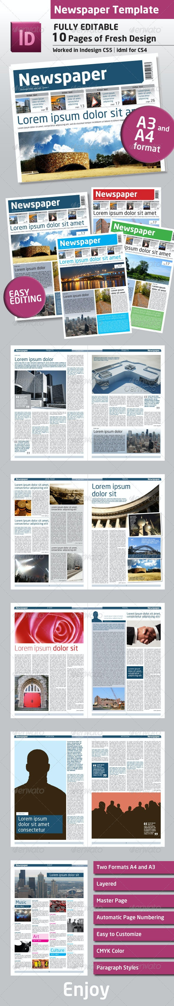 Newspaper Template A4 and A3 Format 10 Pages - Newsletters Print Templates
