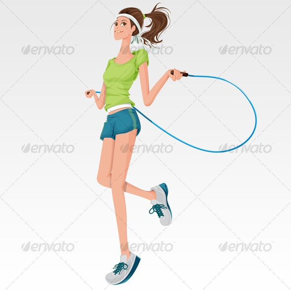 Woman doing jump rope - People Characters