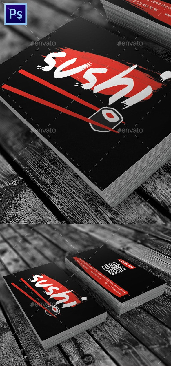 Sushi Restaurant Visit Card - Industry Specific Business Cards