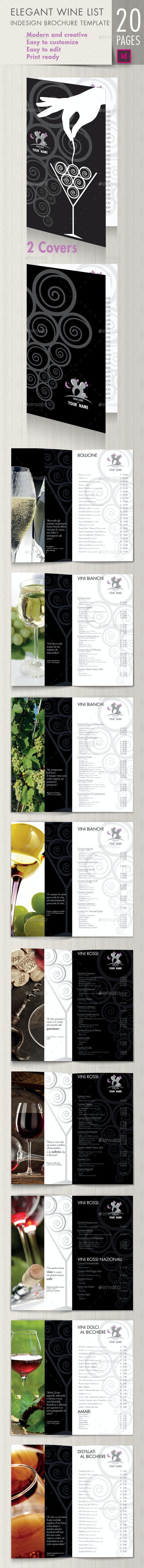 Elegant wine list brochure