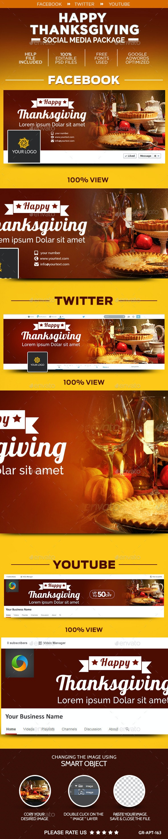 Thanksgiving Social Media Graphic Pack - Social Media Web Elements