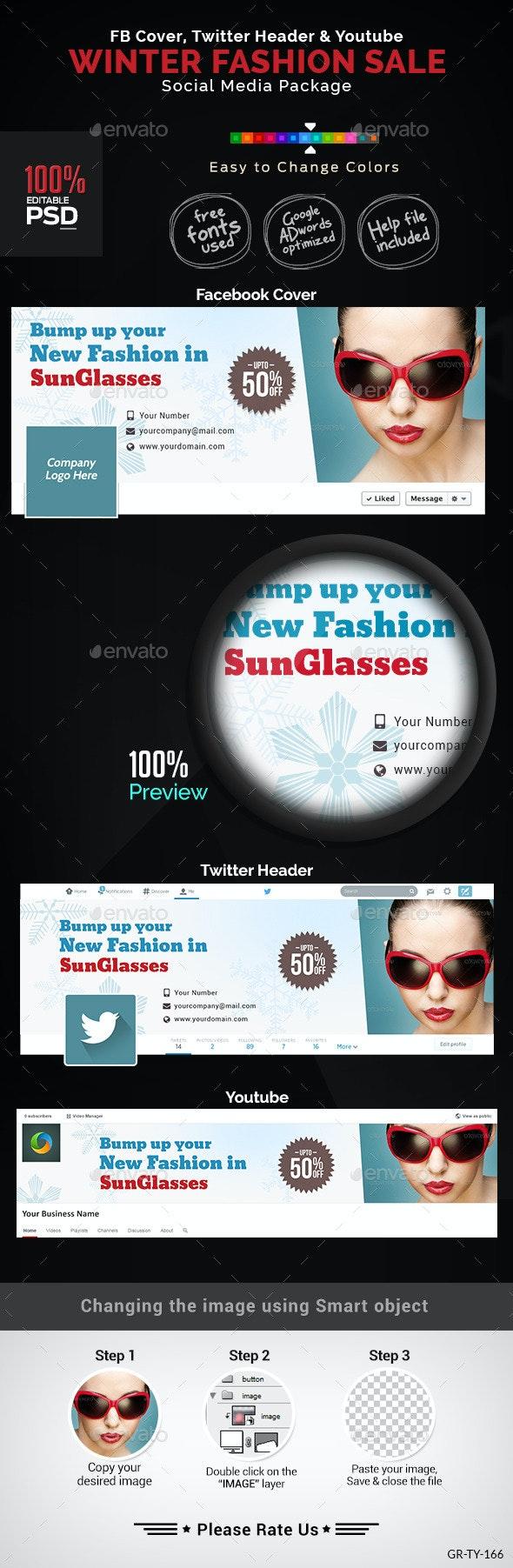 Winter Fashion Social Media Graphic Pack - Social Media Web Elements