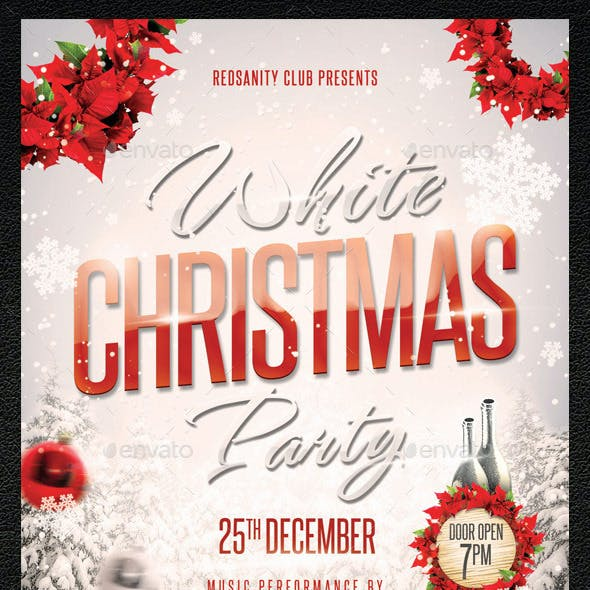 White Christmas Party Flyer plus FB Cover