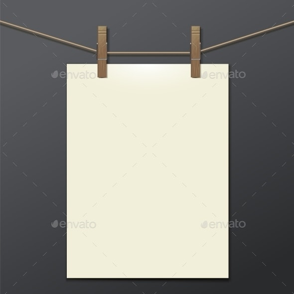 Template with Clothespins - Objects Vectors
