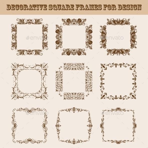 Set of Square Frames for Design - Backgrounds Decorative