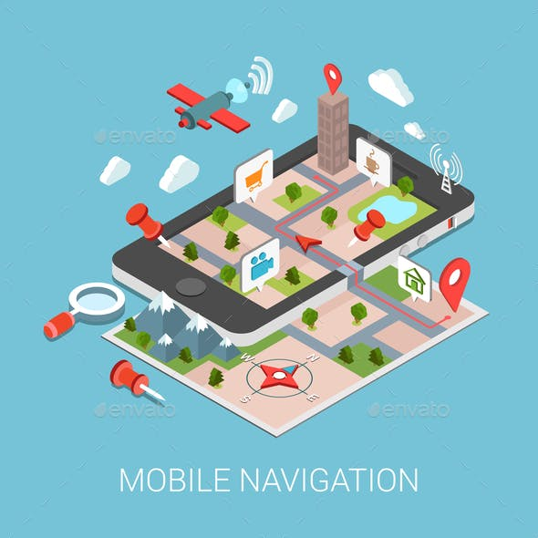 Flat 3D Isometric Mobile Navigation Infographic