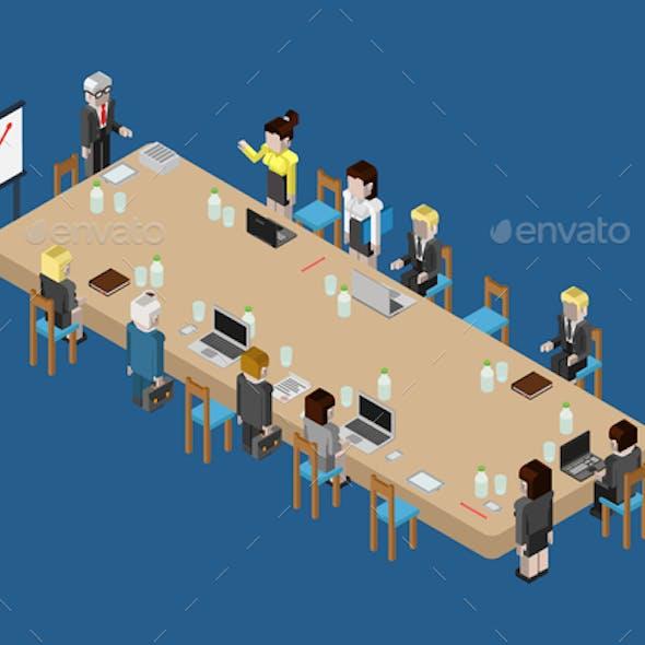 Flat 3D Web Isometric Business Meeting