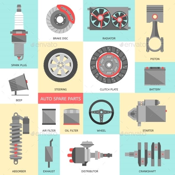 Set of Auto Spare Parts. Car Repair Icons in Flat