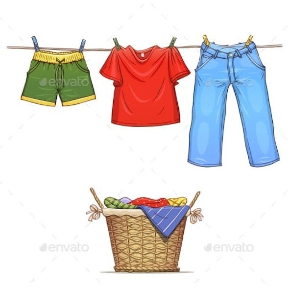 Clothes on Rope and Basket with Wear